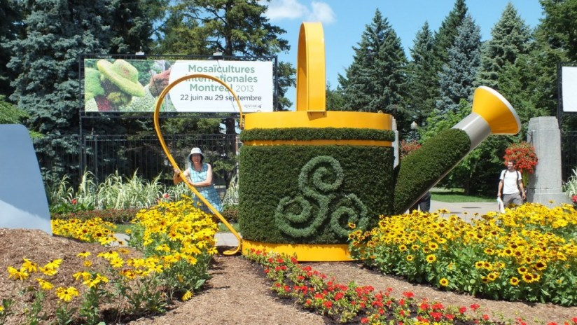 Main Entrance gate topiary for Mosaiculture 2013 at Montreal Botancial Garden, Montreal, Quebec, Canada