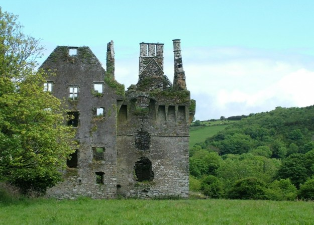 Coppinger's Court ruins, chimneys and walls, county cork, Ireland