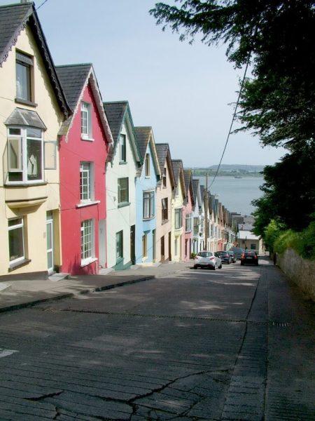 colorful row houses, cobh, county cork, ireland