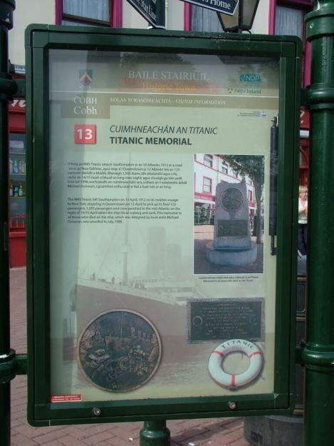 titanic memorial sign, cobh, county cork, ireland
