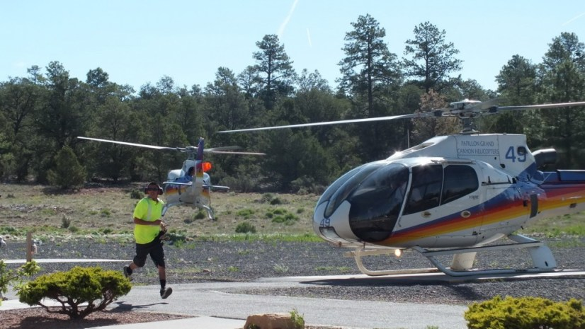 helicopters take off and land, grand canyon heliport, arizona