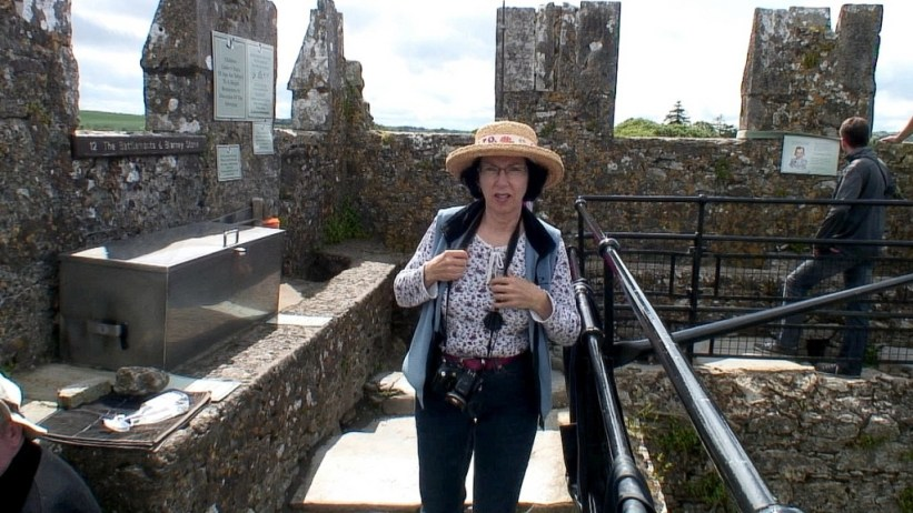 jean arrives at the blarney stone, blarney castle, ireland