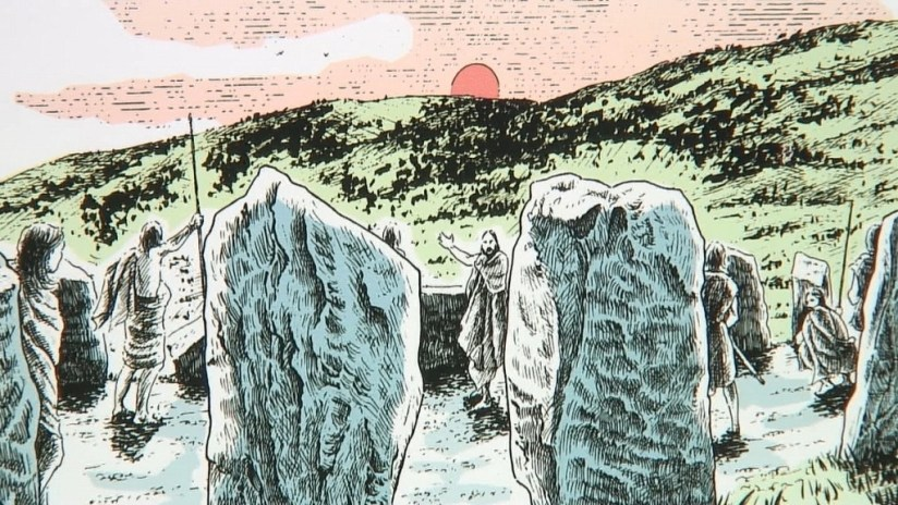 Drawing of Iron Age people at Drombeg Stone Circle in County Cork, Ireland.