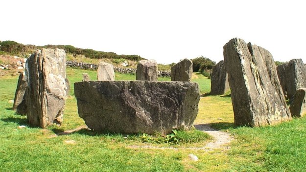 Recumbent axial stone at the Drombeg Stone Circle in County Cork, Ireland.