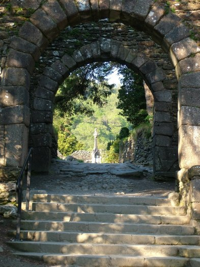 photograph through the Main Gate to St. Kevin's Church at Glendalough, Co. Wicklow, Ireland.
