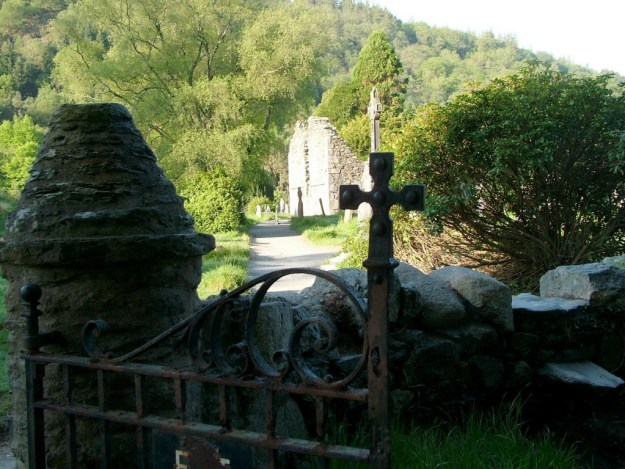 Stone fence and gate to Glendalough Cathedral - Wicklow Mountains - Ireland