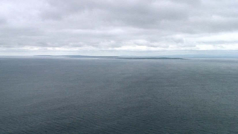 A view of the Aran Islands from the Cliffs of Moher in County Clare, Ireland