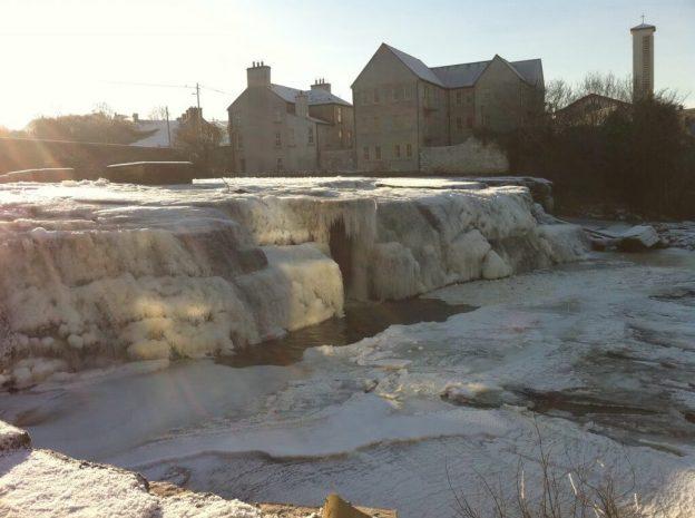 frozen waterfalls at Ennistymon, Ireland, in 2010