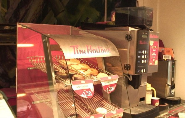 Tim Hortons donuts and coffee counter in Spar store in Ennistymon, County Clare, Ireland