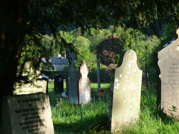tombstones in Glenalough Cathedral graveyard - ireland