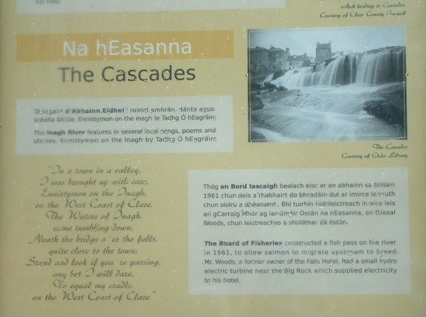 The Cascades waterfalls sign in Ennistymon, County Clare, Ireland