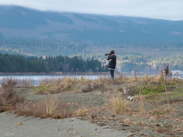 Jean takes pictures near Deep Bay on Vancouver Island, British Columbia, Canada