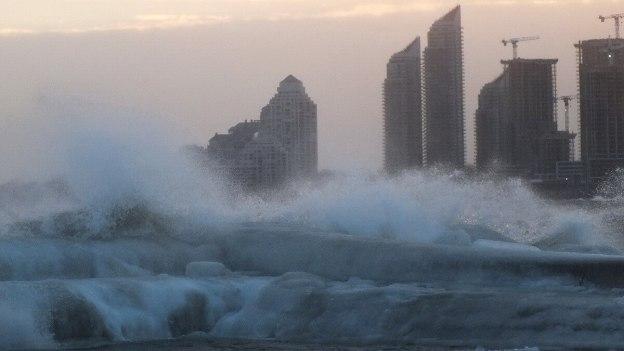 Icy waves breaking on Lake Ontario at Toronto, Ontario, Canada