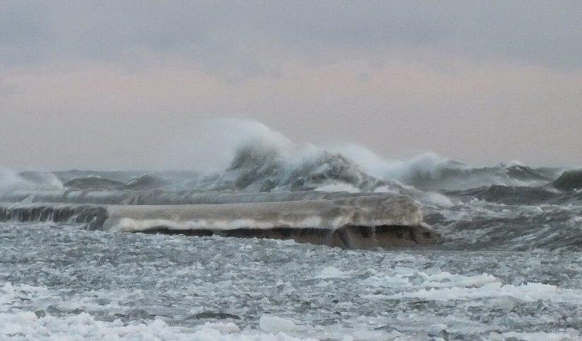 Waves breaking on Lake Ontario at Sunnyside in Toronto, Ontario, Canada