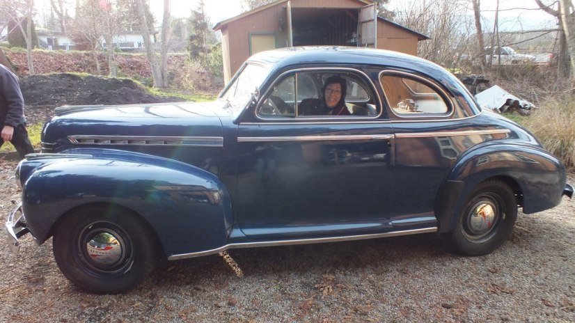 jean aboard 1941 Chevrolet special deluxe Business Coupe