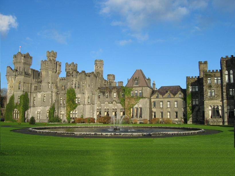 An image of Ashford Castle in County Mayo, Ireland.
