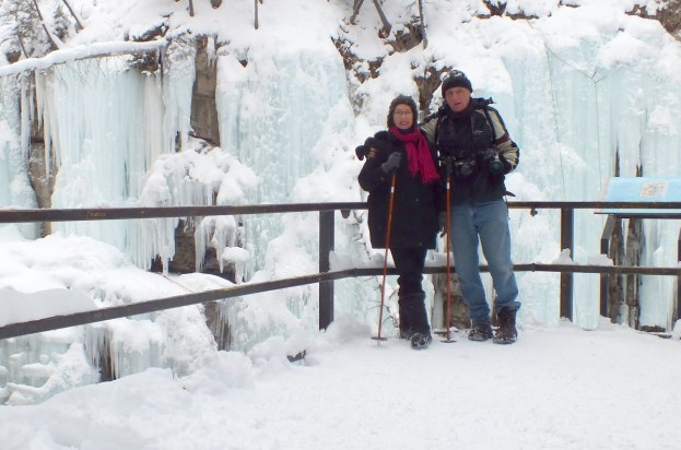 bob and jean at johnston canyon in winter - banff 6