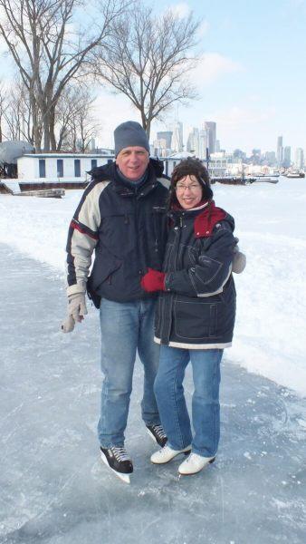bob & jean skating on lagoon skating rink - ward's island - toronto