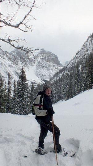 Bob snowshoeing on the Upper Lake Agnes Trail in Banff National Park, in Alberta, Canada