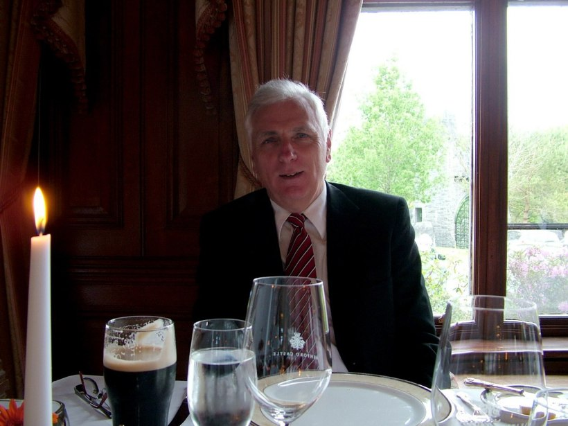 An image of Bob at dinner inside Ashford Castle in County Mayo in Ireland. Photography by Frame To Frame - Bob and Jean.