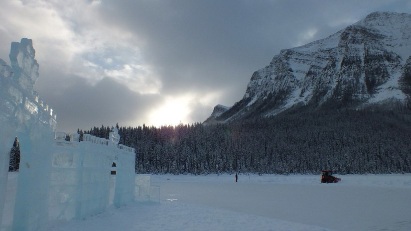 Ice Castle in the winter at Lake Louise in Banff National Park, Alberta, Canada