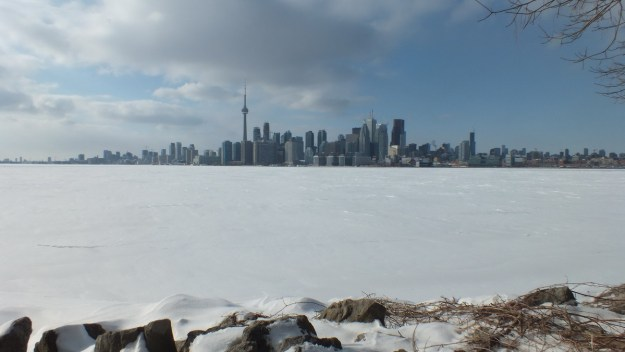 ice covered toronto harbour - ontario