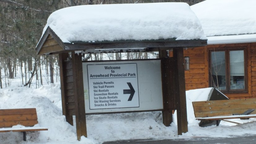 Welcome sign at Arrowhead Provincial Park near Huntsville, Ontario, Canada