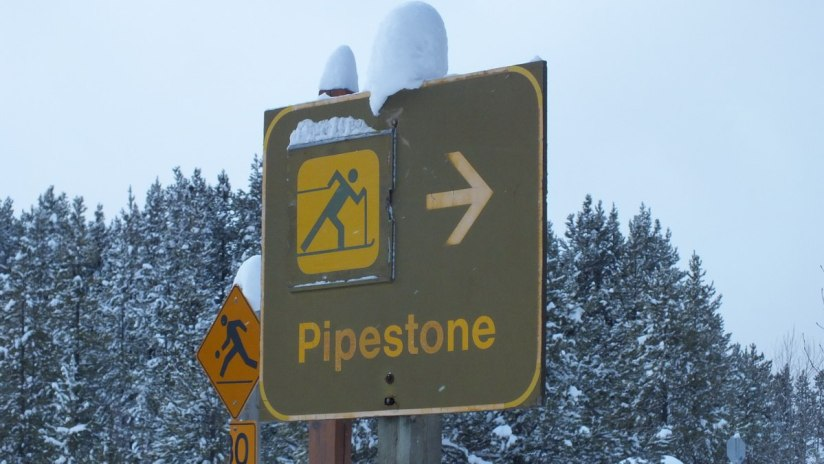 pipestone highway sign at banff national park