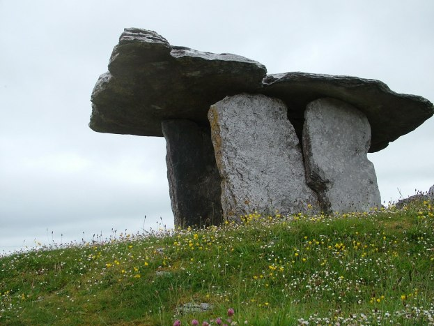 An image of the Poulnabrone Dolmen sitting among flowers in County Clare. Ireland. Photography by Frame To Frame - Bob and Jean.