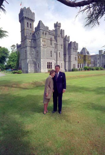 An image of US President Reagan and wife Nancy, at Ashford Castle in County Mayo in Ireland.