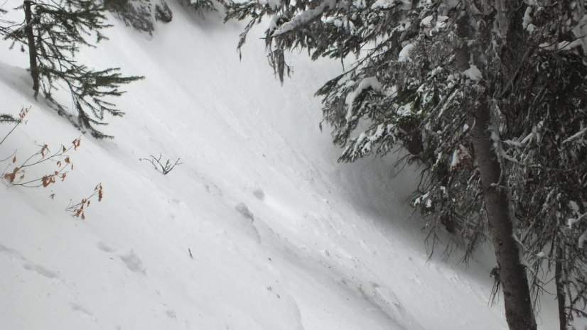 Snowed under mountain trail in Banff National Park, in Alberta, Canada