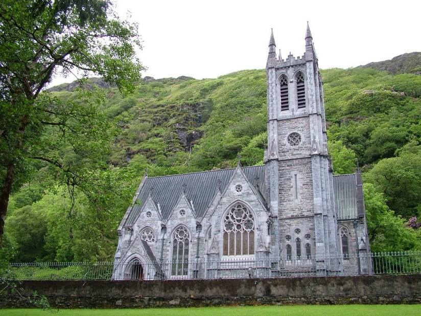An image of the Gothic Memorial Cathedral at Kylemore Abbey in Connemara, County Galway, Ireland. Photography by Frame To Frame - Bob and Jean.