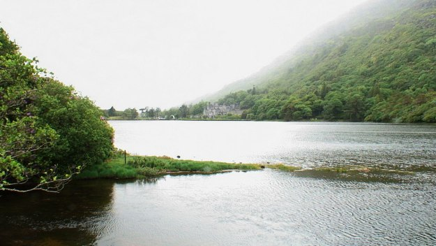 Kylemore abbey on pollacapall lough_connemara_county galway_ireland