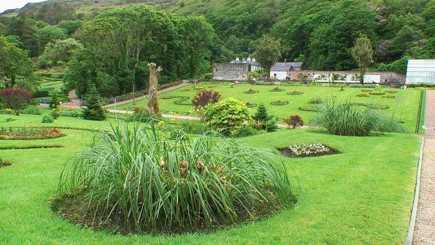 Walled Victorian Gardens at Kylemore Abbey in County Galway, Ireland.