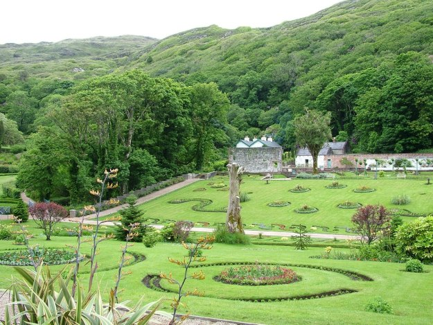 Walled Victorian Gardens at Kylemore Abbey in County Galway, Ireland