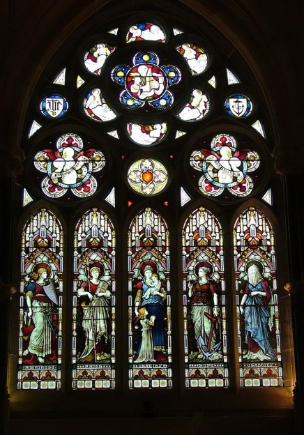 stain glass window in Gothic memorial cathedral at kylemore abbey_County Galway_Ireland