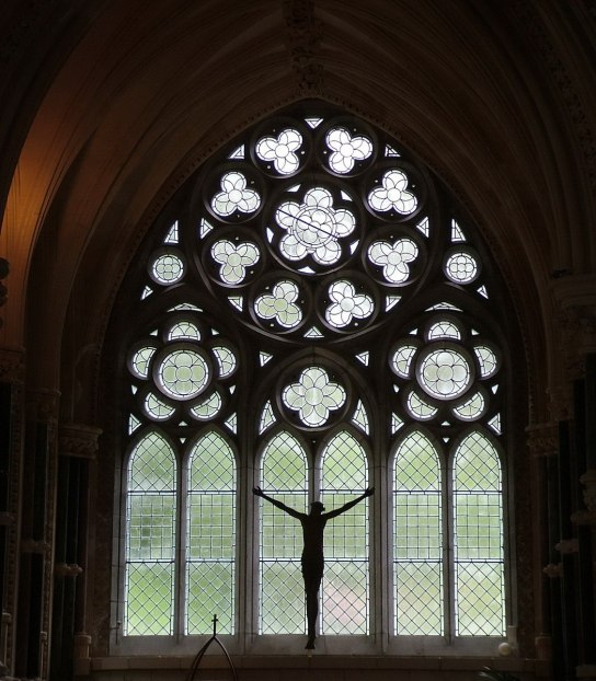 window in Gothic memorial cathedral at kylemore abbey_Connemara_County Galway_Ireland