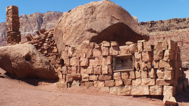 Stone wall of a Blanche Russell Rock House in Marble Canyon in Arizona, U.S.A.