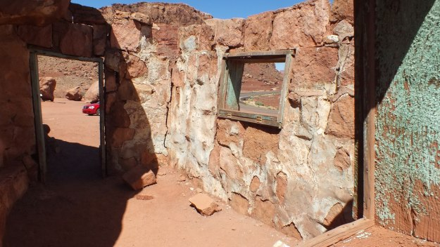 Interior wall in a Blanche Russell Rock House in Marble Canyon in Arizona, U.S.A.