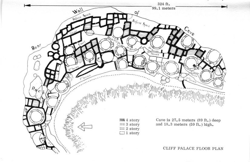 cliff palace floor plan - mesa verde national park - colorado