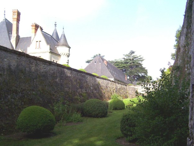An image of the moot between the castle walls at Chateau de la Bourdaisiere in the Loire Valley, France.