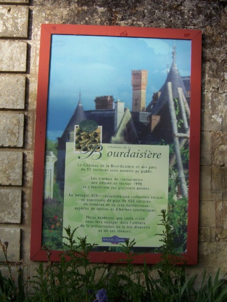 An image of the main entrance sign at Chateau de la Bourdaisiere in the Loire Valley in France.