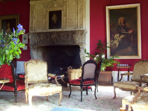 An image of a fireplace at Chateau de la Bourdaisiere in the Loire Valley, France.