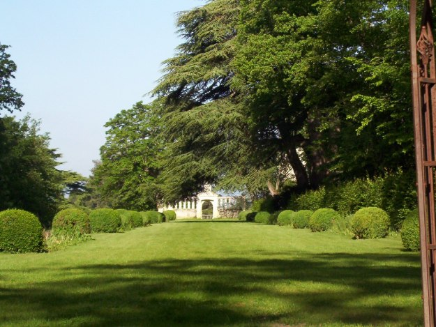 An image of the front lawn at Chateau de la Bourdaisiere in the Loire Valley, France.
