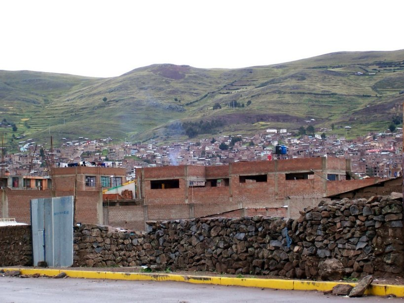 hills and village of puno - peru