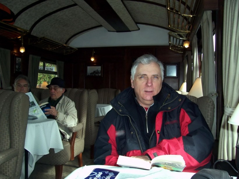 Bob aboard the Peru Rail Andean Explorer in Peru, South America