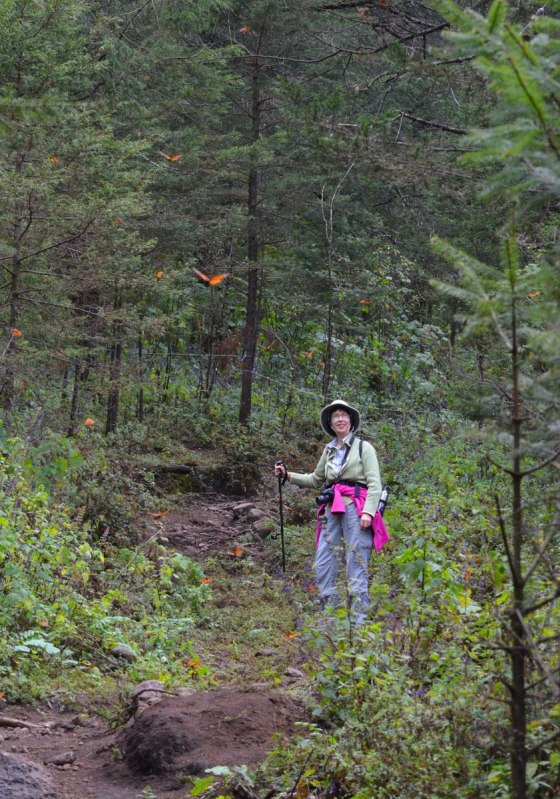 Jean on a hiking trail at Cerro Pelon Monarch Butterfly Sanctuary, near Macheros, Mexico