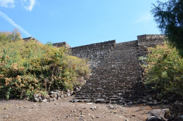 stone stairs of main pyramid of san felipe de los alzati, zitacuaro, mexico 4