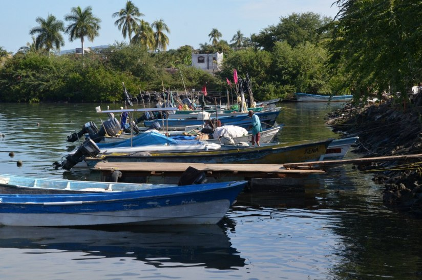 Fishing boats in San Blas harbour, State of Nayarit, Mexico