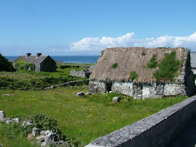 stone thatched cottages, inishmore island, ireland 1